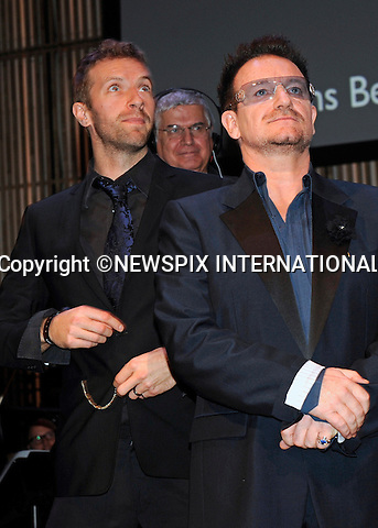 "BONO AND CHRIS MARTIN.Dutch filmmaker Anton Corbijn was honoured with the Prince Bernhard Culture Prize for 2011. He received aPrize Fund of €75,000, which was presented by Princess Maxima of Holland..U2 frontman Bono and Cold Play's Chris Martin performed at the event in Amsterdam_28/11/2011.Mandatory Credit Photo: ©Astufoto/NEWSPIX INTERNATIONAL..                 **ALL FEES PAYABLE TO: ""NEWSPIX INTERNATIONAL""**..IMMEDIATE CONFIRMATION OF USAGE REQUIRED:.Newspix International, 31 Chinnery Hill, Bishop's Stortford, ENGLAND CM23 3PS.Tel:+441279 324672  ; Fax: +441279656877.Mobile:  07775681153.e-mail: info@newspixinternational.co.uk"