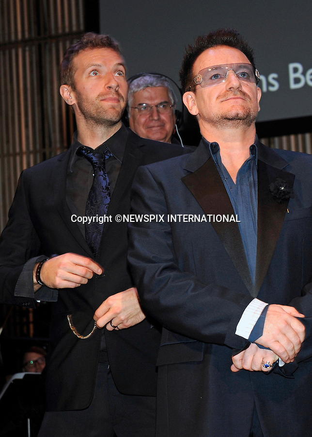 """BONO AND CHRIS MARTIN.Dutch filmmaker Anton Corbijn was honoured with the Prince Bernhard Culture Prize for 2011. He received aPrize Fund of €75,000, which was presented by Princess Maxima of Holland..U2 frontman Bono and Cold Play's Chris Martin performed at the event in Amsterdam_28/11/2011.Mandatory Credit Photo: ©Astufoto/NEWSPIX INTERNATIONAL..                 **ALL FEES PAYABLE TO: """"NEWSPIX INTERNATIONAL""""**..IMMEDIATE CONFIRMATION OF USAGE REQUIRED:.Newspix International, 31 Chinnery Hill, Bishop's Stortford, ENGLAND CM23 3PS.Tel:+441279 324672  ; Fax: +441279656877.Mobile:  07775681153.e-mail: info@newspixinternational.co.uk"""