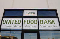 Phoenix, Arizona. October 18, 2012 - Entrance of the United Food Bank in Mesa, Arizona. The food bank provides access to nutritious food through community partnerships and food distribution in Arizona counties such as Pinal and Gila, and portions of Navajo, Apache and Maricopa counties. As the amount of food donations decreases, food banks such as the United Food Bank strive to keep up with hunger relief needs of 1 in 5 (20%) of Arizonans who are living in poverty and, based on figures of the Department of Health and Human Services. Photo by Eduardo Barraza © 2012