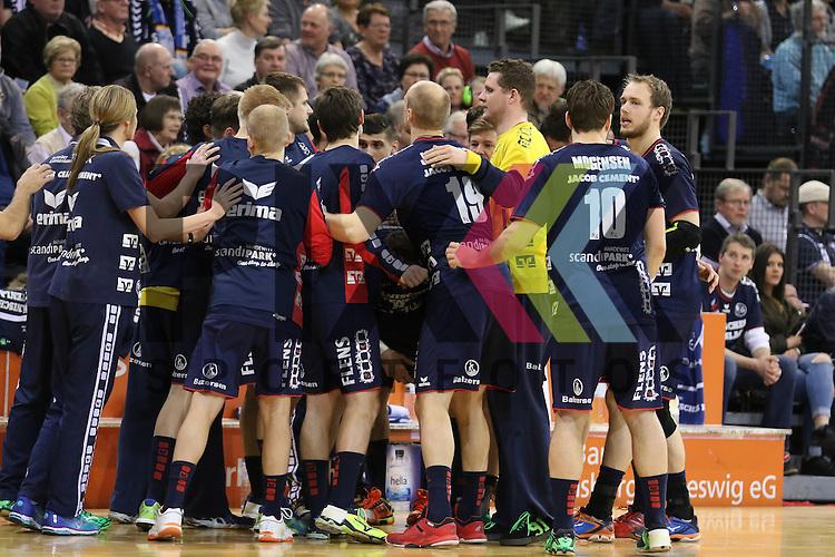 Flensburg, 15.03.16, Sport, Handball, DKB Handball Bundesliga, SG Flensburg-Handewitt-HSG Wetzlar : Team<br /> <br /> Foto &copy; PIX-Sportfotos *** Foto ist honorarpflichtig! *** Auf Anfrage in hoeherer Qualitaet/Aufloesung. Belegexemplar erbeten. Veroeffentlichung ausschliesslich fuer journalistisch-publizistische Zwecke. For editorial use only.