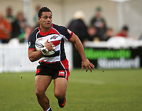 Counties winger Lelia Masaga breaks down the right wing during the Air NZ Cup rugby match between Manawatu Turbos and Counties-Manukau Steelers at FMG Stadium, Palmerston North, New Zealand on Sunday, 2 August 2009. Photo: Dave Lintott / lintottphoto.co.nz