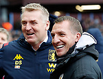 Leicester City manager Brendan Rodgers and Aston Villa manager Dean Smith before the Premier League match at Villa Park, Birmingham. Picture date: 8th December 2019. Picture credit should read: Darren Staples/Sportimage