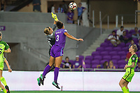 Orlando, FL - Thursday September 07, 2017: Lydia Williams, Toni Pressley during a regular season National Women's Soccer League (NWSL) match between the Orlando Pride and the Seattle Reign FC at Orlando City Stadium.
