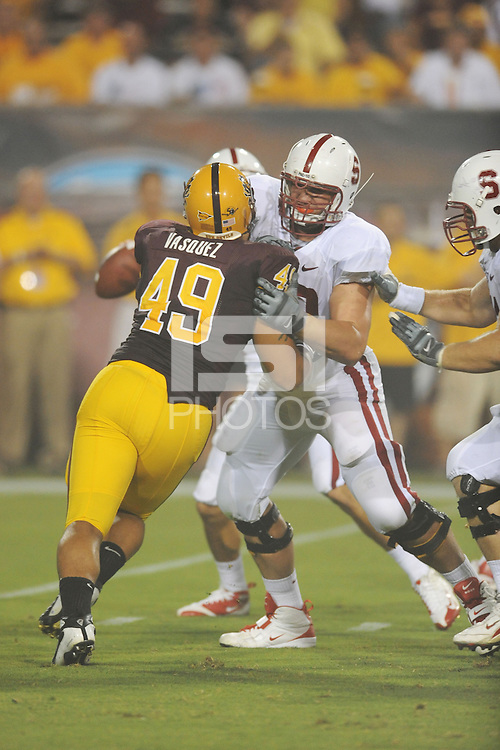 Tempe, AZ - SEPTEMBER 6:  Offensive tackle Chris Marinelli #63 of the Stanford Cardinal during Stanford's 41-17 loss against the Arizona State Sun Devils on September 6, 2008 at Sun Devil Stadium in Tempe, Arizona.