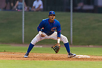 AZL Cubs 2 first baseman Fidel Mejia (17) during an Arizona League game against the AZL White Sox at Sloan Park on July 13, 2018 in Mesa, Arizona. The AZL Cubs 2 defeated the AZL White Sox by a score of 6-4. (Zachary Lucy/Four Seam Images)