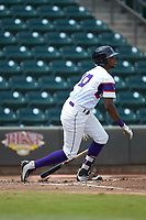 Ti'Quan Forbes (10) of the Winston-Salem Rayados follows through on his swing against the Potomac Nationals at BB&T Ballpark on August 12, 2018 in Winston-Salem, North Carolina. The Rayados defeated the Nationals 6-3. (Brian Westerholt/Four Seam Images)