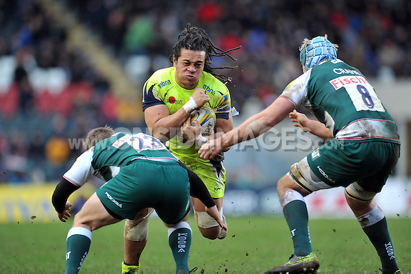 TJ Ioane of Sale Sharks takes on the Leicester Tigers defence. Aviva Premiership match, between Leicester Tigers and Sale Sharks on February 6, 2016 at Welford Road in Leicester, England. Photo by: Patrick Khachfe / JMP