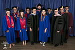 Back row, left to right, the Rev. Dennis H. Holtschneider, C.M., president of DePaul, John-Paul D. Pendowski, Daniel Thomas Hickey, Marten denBoer, provost, John Culbert, dean of The Theatre School, and Jeff Bethke, executive vice president. Front row, left to right, Emily A. Margevich, Emily Jeanne DePalma, commencement speaker and honorary degree recipient John Corigliano, a Grammy Award-winning American composer, Elsa Rose Guenther, student speaker, and Ronald Caltabiano, dean of the School of Music. DePaul University School of Music and The Theatre School held its commencement ceremony, Saturday, June 10, 2017, during the DePaul University School of Music and The Theatre School commencement ceremony at the Rosemont Theatre in Rosemont, IL. (DePaul University/Jeff Carrion)
