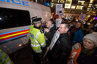 Blacklist Crossrail protest at the Construction News Awards at the Park lane Hilton hotel London. 18-3-15 Spokesman for the Blacklist support group Dave Smith was arrested as the protestors crossed the road.