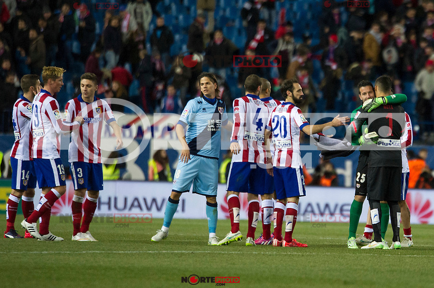 Atletico de Madrid&acute;s Mario Suarez, Fernando Torres, Guilherme Siqueira, Gabi, Juanfran and Miguel Angel Moya and Rayo Vallecano&acute;s Ze Castro and Tono Rodriguez during 2014-15 La Liga match between Atletico de Madrid and Rayo Vallecano at Vicente Calderon stadium in Madrid, Spain. January 24, 2015. (ALTERPHOTOS/Luis Fernandez) /NortePhoto<br />