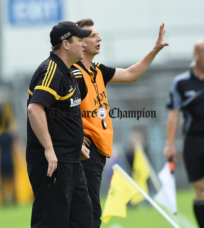 Pat O Grady, Kilkenny manager and Sean Mangan, Kilkenny coach on the sideline during their Intermediate All-Ireland final against Clare at Thurles. Photograph by John Kelly.