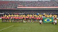 SÃO PAULO,SP, 10.11.2018 - BRASIL-ALL BLACK MAORI – Time do Brasil durante partida contra o All Black Maori, jogo amistoso internacional de Rugby, disputada no estádio do Morumbi em São Paulo, neste sabado, 10. (Foto: Levi Bianco/Brazil Photo Press)