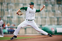 Fort Wayne TinCaps starting pitcher Jerry Keel (33) delivers a pitch during a game against the Wisconsin Timber Rattlers on May 10, 2017 at Parkview Field in Fort Wayne, Indiana.  Fort Wayne defeated Wisconsin 3-2.  (Mike Janes/Four Seam Images)