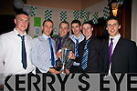 Some of South Kerry's next generation of football stars at their victory dance in the Ring of Kerry Hotel holding their latest acquisition the 'Hogan Cup'  are l-r Martin O'Sullivan, Fionan Kissane, Max Theimann, Ciaran Keating, Mark Griffin & Eanna O'Connor.  Congradulations to all team and management.