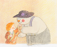 BNPS.co.uk (01202 558833)<br /> Pic: Bonhams/BNPS<br /> <br /> PICTURED: The Snowman: An original animation cel of The Snowman and James playing dress-up.<br /> <br /> Original animation cells from the Christmas film 'The Snowman' have sold at auction for £14,000.<br />  <br /> The 16 drawings were sketched on celluloid plastic and then filmed in sequence to give the impression they were moving.<br /> <br /> They were sold individually, with the most valuable being a picture of James and the Snowman embraced in a hug.