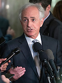 """United States Senator Bob Corker (Republican of Tennessee) speaks to reporters after US Secretary of State Mike Pompeo testified before the US Senate Committee on Foreign Relations on """"An update on American Diplomacy to Advance our National Security Strategy"""" on Capitol Hill in Washington, DC on Wednesday, July 25, 2018.  Pompeo took questions on the Helsinki Summit with President Putin of Russia and progress on the denuclearization of North Korea.<br /> Credit: Ron Sachs / CNP"""