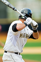 Carlos Lopez #3 of the Wake Forest Demon Deacons at bat against the Florida State Seminoles in the completion of the suspended game from March 23rd at Wake Forest Baseball Park on March 24, 2012 in Winston-Salem, North Carolina.  The Seminoles defeated the Demon Deacons 5-4 in 11 innings.  (Brian Westerholt/Four Seam Images)