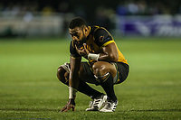 Andrew Durutalo of Ealing Trailfinders looks dejected after defeat in the Greene King IPA Championship match between Ealing Trailfinders and London Irish Rugby Football Club  at Castle Bar, West Ealing, England  on 1 September 2018. Photo by David Horn.