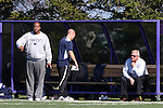 21 October 2012: Penn State head coach Bob Warming (right) watches assistant coach Bo Oshoniyi (left). The Northwestern University Wildcats played the Penn State University Nittany Lions at Lakeside Field in Evanston, Illinois in a 2012 NCAA Division I Men's Soccer game. Penn State won the game 1-0 in golden goal overtime.