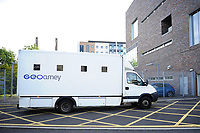 Pictured: A prison van arrives at Newport Magistrates' Court<br /> Re: Following the discovery of the body of 54 year old David Gaut at an address in Long Row, in the Elliots Town area of New Tredegar, south Wales, on Saturday 4th August 2018, three men have been charged in relation to his death.<br /> 47-year-old Darren Evesham, 23-year-old Ieuan Harley and 51-year-old David Osbourne, all from the New Tredegar area, have each been charged with murder.<br /> All three are due to appear in Newport Magistrates' Court on Thursday, 9th August 2018.