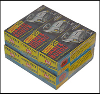 BNPS.co.uk (01202 558833)<br /> Picture:C&amp;TAuctions/BNPS<br /> <br /> A pack of James Bond cars made by toy maker Corgi that should have been sold in 1964 have been discovered still in their original Cellophane wrapped boxes.<br /> <br /> The six toy versions of Bond's Aston Martin DB5 were made in the wake of the 1964 film Goldfinger, which was the first to feature the gadget-laden silver car.<br /> <br /> Corgi sprayed the model motors gold and included an ejector seat which projected a plastic figure of a villian through the roof at the flick of a switch, replicating a scene in the movie.