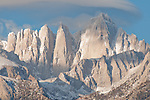 Closeup view of Mount Whitney, first light
