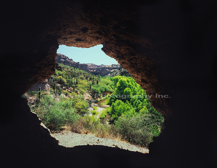Mouth of a cave,Aravaipa Canyon Wilderness,Arizona