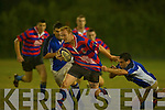 Shane Flynn Castleisland bursts through Jody Riordan Killorglin tackle during their game in the Crageen's Castleisland Saturday evening   Copyright Kerry's Eye 2008