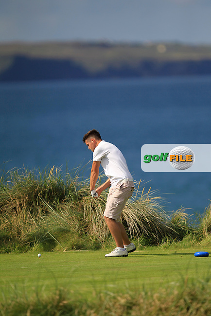 Conor O'Rourke (Naas/NUIM) on the 4th tee during the South of Ireland Amateur Open Championship Second Round at Lehinch Golf Club  28th July 2013 <br /> Picture:  Thos Caffrey / www.golffile.ie