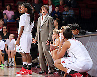 STANFORD, CA - January 3, 2015: Stanford Cardinal plays the Colorado Buffaloes at Maples Pavilion. The Cardinal defeated the Buffaloes 62-55. Tara VanDerveer talks to Amber Orrange.