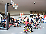 July 23, 2017, Chiba, Japan - A girl tries to play wheelchair basketball with Paralympians at a promotional event of Paralympic sports at a shopping mall in Chiba, suburban Tokyo on Sunday, July 23, 2017. People try to play Paralympic sports such as wheelchair basketball and wheelchair rugby with Paralympic athletes at the event sponsored by Japan Airlines (JAL).   (Photo by Yoshio Tsunoda/AFLO) LwX -ytd-