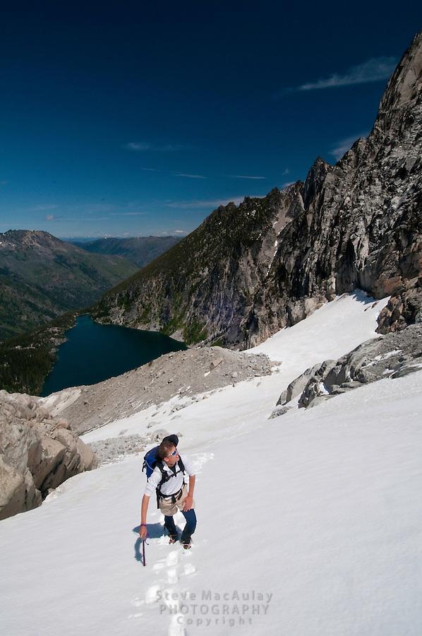 Dragontail Peak and Colchuck Glacier, above Colchuck Lake, Alpine Lakes Wilderness, Leavenworth, WA.