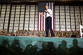 United States President Barack Obama delivers remarks to troops at Bagram Air Field, Afghanistan, May 1, 2012..Mandatory Credit: Pete Souza - White House via CNP