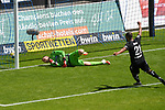 Das 0:1 von Uerdingens Osawe Osayamen (Nr.35) im Bild Waldhofs Timo Königsmann / Koenigsmann (Nr.1) ist geschalgen und Uerdingens Mbom Jean-Manuel (Nr.21) jubelt beim Spiel in der 3. Liga, SV Waldhof Mannheim - KFC Uerdingen 05.<br /> <br /> Foto © PIX-Sportfotos *** Foto ist honorarpflichtig! *** Auf Anfrage in hoeherer Qualitaet/Aufloesung. Belegexemplar erbeten. Veroeffentlichung ausschliesslich fuer journalistisch-publizistische Zwecke. For editorial use only. DFL regulations prohibit any use of photographs as image sequences and/or quasi-video.
