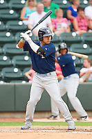Christian Villanueva #14 of the Myrtle Beach Pelicans at bat against the Winston-Salem Dash at BB&T Ballpark on July 5, 2012 in Winston-Salem, North Carolina.  The Dash defeated the Pelicans 12-5.  (Brian Westerholt/Four Seam Images)