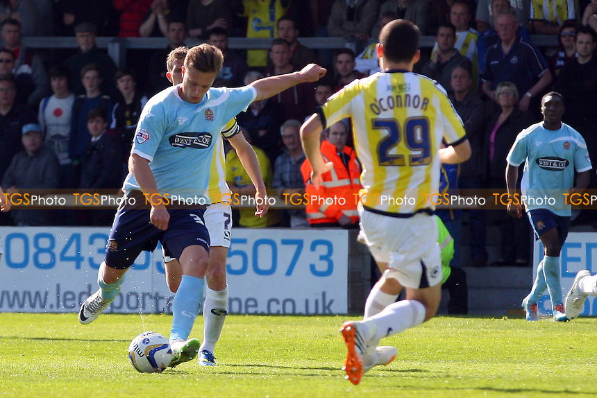 Luke Norris of Dagenham and Redbridge tries a shot - Torquay United vs Dagenham and Redbridge, Sky Bet League Two Football at the Plainmoor Stadium - 18/04/14 - MANDATORY CREDIT: Dave Simpson/TGSPHOTO - Self billing applies where appropriate - 0845 094 6026 - contact@tgsphoto.co.uk - NO UNPAID USE