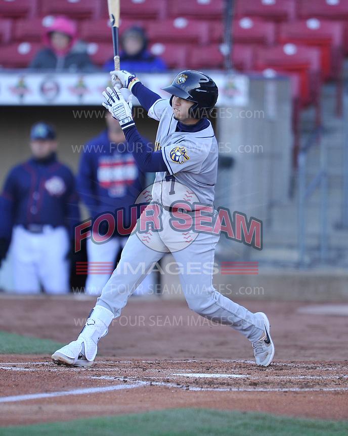 Burlington Bees shortstop Livan Soto (7) swings at a pitch against the Cedar Rapids Kernels at Veterans Memorial Stadium on April 13, 2019 in Cedar Rapids, Iowa.  Kernels won 2-1.  (Dennis Hubbard/Four Seam Images)