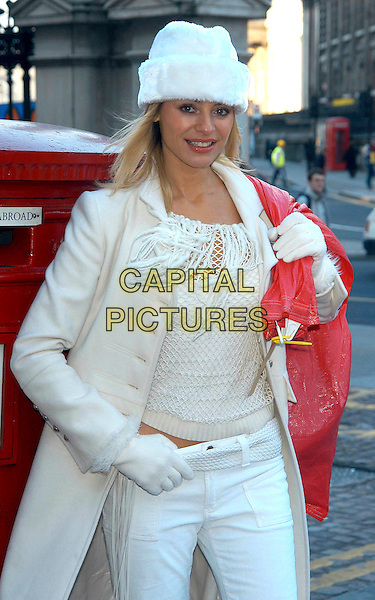 TESS DALY.Royal Mail Christmas Stamp Launch, London, UK..December 9th, 2002.Daley half length coat cream gloves scarf white fur hat.CAP/PL.©Phil Loftus/Capital Pictures
