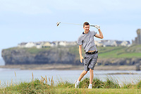 Andrew Mcgee (Powerscourt) on the 12th tee during Round 3 of The South of Ireland in Lahinch Golf Club on Monday 28th July 2014.<br /> Picture:  Thos Caffrey / www.golffile.ie