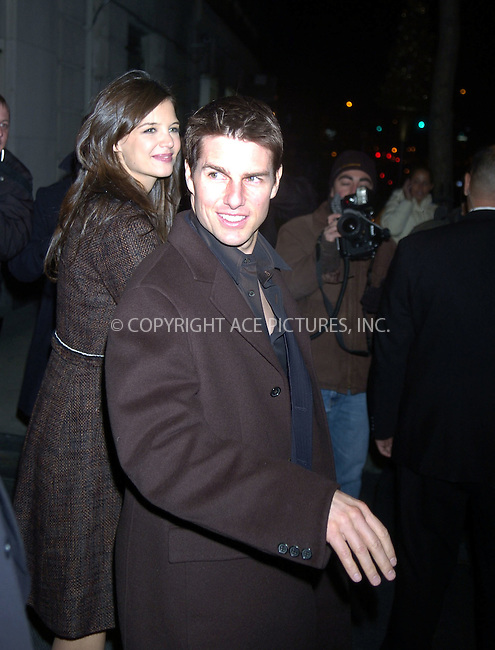 WWW.ACEPIXS.COM . . . . .  ....December 14 2005, New York City....Tom Cruise and his pregnant girlfriend Katie Holmes attended a benefit for the Church of Scientology at the Tribeca Rooftop in downtown Manhattan. The event was to raise funds for a program that claims to heal firefighters and rescue workers who inhales toxic smoke on 9/11/2001.....Please byline: ANDREW ROCKE - ACEPIXS.COM.... *** ***..Ace Pictures, Inc:  ..Philip Vaughan (212) 243-8787 or (646) 769 0430..e-mail: info@acepixs.com..web: http://www.acepixs.com
