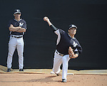 (R-L) Masahiro Tanaka, Joe Girardi (Yankees),<br /> FEBRUARY 22, 2015 - MLB :<br /> Manager Joe Girardi of the New York Yankees watches Masahiro Tanaka as he practices pitching in the bullpen during the New York Yankees spring training camp in Tampa, Florida, United States. (Photo by AFLO)