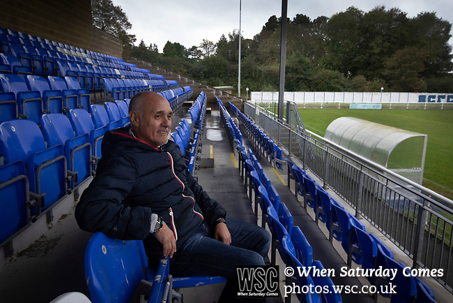 Former Argentina international footballer Pedro Pasculli, pictured at Nantporth Stadium, home of  Bangor City, where he was appointed  manager in October, 2019. This was the 1986 World Cup winner's 13th management position, having previously been in charge of the Albania and Uganda national teams as well as a host of clubs worldwide. Bangor City competed in the Cymru Alliance, the second tier of Welsh football having been demoted due to financial irregularities at the end of the 2017-18 season. The club was owned by a consortium involving the Vaughan familial but was bought by Italian Domenico Serafino and a group of investors in September 2019.