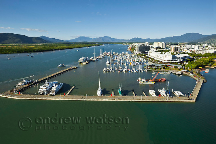 Aerial view of Marlin Marina with Trinity Inlet in background.  Cairns, Queensland, Australia