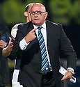 Forfar manager Dick Campbell offers Assistant Referee Dougie Potter his glasses but managed to put them on upside down.