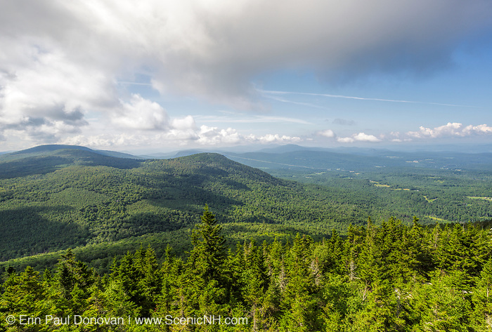Scenic view from the summit of Black Mountain in Benton, New Hampshire during the summer months.