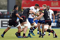 Elliott Stooke of Bath Rugby takes on the Saracens defence. Aviva Premiership match, between Saracens and Bath Rugby on April 15, 2018 at Allianz Park in London, England. Photo by: Patrick Khachfe / Onside Images