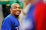 20 June 2008: Texas Rangers' right fielder Marlon Byrd smiles in the dugout prior to the first game of their 3-game series against the Washington Nationals at Nationals Park in Washington, DC. The Nationals rallied in the eighth to tie, and then win 4-3 in the 14th inning of their inter-league matchup...Mandatory Photo Credit: Ed Wolfstein Photo