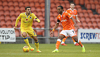 Blackpool's Nathan Delfouneso in action with Bristol Rovers' Liam Sercombe<br /> <br /> Photographer Mick Walker/CameraSport<br /> <br /> The EFL Sky Bet League One - Blackpool v Bristol Rovers - Saturday 3rd November 2018 - Bloomfield Road - Blackpool<br /> <br /> World Copyright &copy; 2018 CameraSport. All rights reserved. 43 Linden Ave. Countesthorpe. Leicester. England. LE8 5PG - Tel: +44 (0) 116 277 4147 - admin@camerasport.com - www.camerasport.com