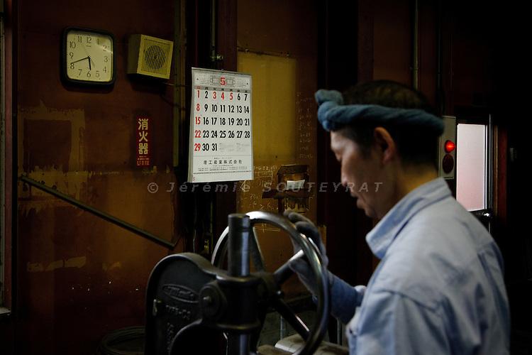 """Kawamata, May 30 2011 - .(eng)  Hideki Sato, 60. """"The area where I stay must not be evacuated. I am glad that the factory could stay opened. Working is important...(fr) Hideki Sato, 60 ans, est ouvrier a l'usine. .""""La zone ou j'habite ne doit pas etre evacuer. Je suis content que l'usine reste ouverte, le travail c'est important""""."""