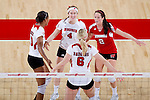 Wisconsin Badgers celebrate a point during an NCAA volleyball match against the Michigan Wolverines at the Field House on October 30, 2010 in Madison, Wisconsin. Michigan won the match 3-1. (Photo by David Stluka)